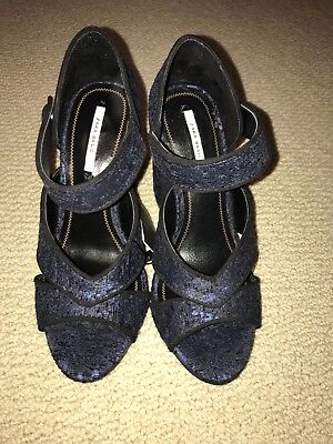ZARA womens shoes NIB NWT stacked heel BROCADE BLUE BLACK 6 36