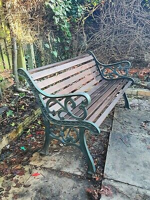CAST IRON AND WOOD GARDEN BENCH OLD - VINTAGE ENDS