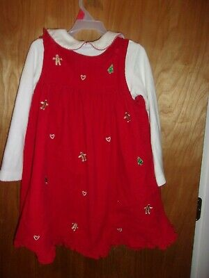 GIRLS SIZE 6 CORDUROY 2 PIECE RED JUMPER DRESS & SHIRTHOLIDAY THEMED CHRISTMAS