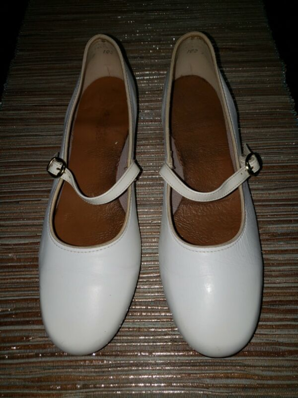 Vintage White Leather Scoop Mary Jane Clogging Shoes w/ Stevens Stompers Double