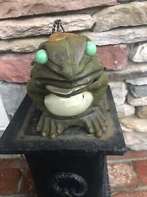 Vintage Cast Iron Sitting FROG Glass Garden Lantern Patio Light Candle Holder