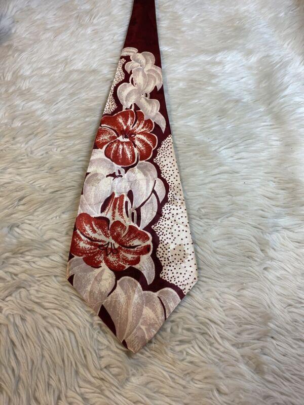 "RETRO Vintage 40s 50s Silk NECKTIE ART DECO Design 4.5"" Wide #4"