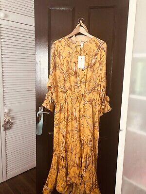 H&M Johanna Ortiz Maxi Florals Orchid Bird Maxi  dress Size XL BNWT