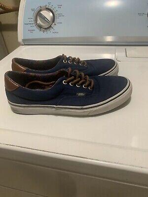 Vans Era Navy Blue White Canvas Skate Shoes Men's Size 9.5