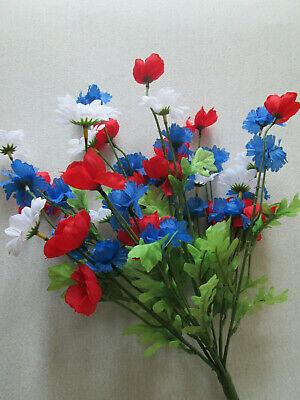 Margerite Mohn Kornblume Strauß 47cm 45 Blüten Künstliche Kunst Blumen Pflanzen (Mohn Pflanzen)