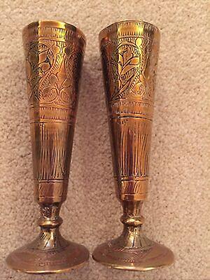 13cm Pair Vintage INDIAN BRASS Engraved Enamelled Vases Floral Leaf Design