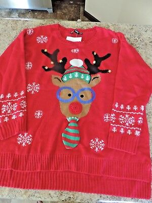 United States Women's UGLY CHRISTMAS SWEATER sz 1X NERDY Reindeer Bells NWT  ()