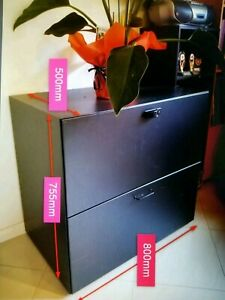Black Metal Horizontal Filing Cabinet