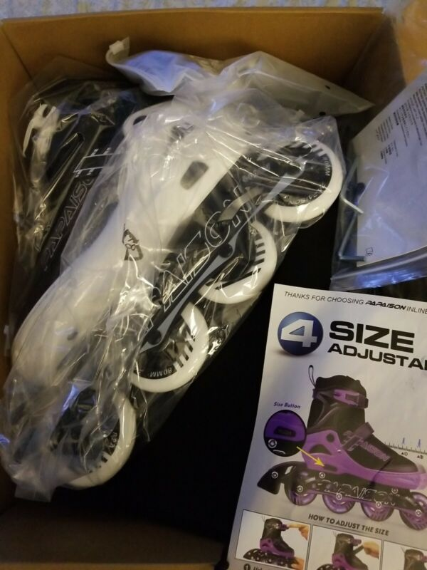 PAPAISON Adjustable Inline Skates for Kids with US Size 1-4 New Open Box