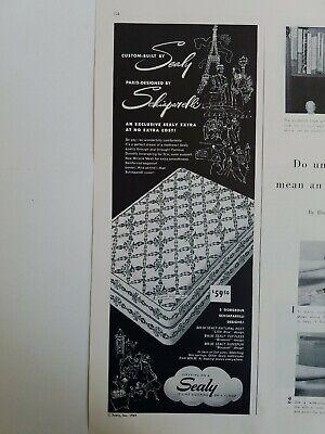 1949 Custom Built Sealy Colchón Cama Paris Diseñado por Schiaparelli Vintage Ad