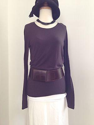 Lilith Minimalist Dark Brown Long Sleeve Top Wardrobe Essentials L