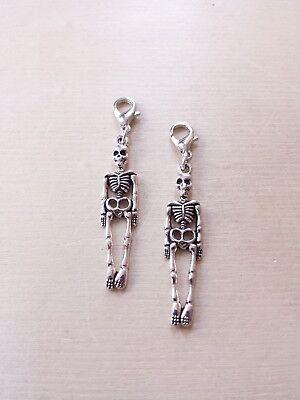 2 x Skelett Anhänger * Halloween * Schmuckzubehör Basteln Deko Charms Silber