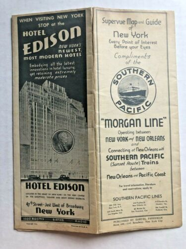 1933 Souvenir Map of New York City by Steamboat The Morgan Line