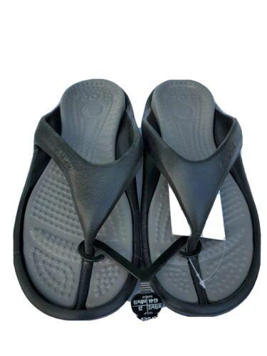 Crocs Athens flip flop shoes, men's 10 women's 12, black/smo