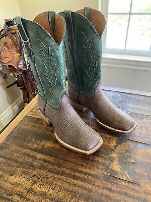 New HANDMADE BLACK JACK Brown Sueded Lizard 9 1/2 2E Brown MENS COWBOY BOOTS Black Lizard Cowboy Boots