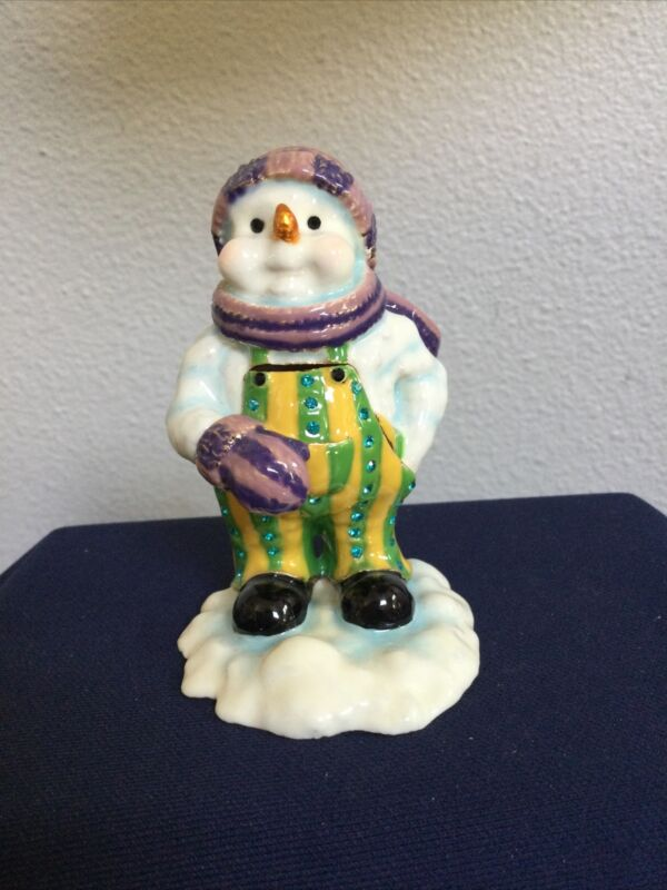 SNOWMAN BY KEREN KOPAL TRINKET BOX. GREAT HOLIDAY OR COLLECTION PIECE!