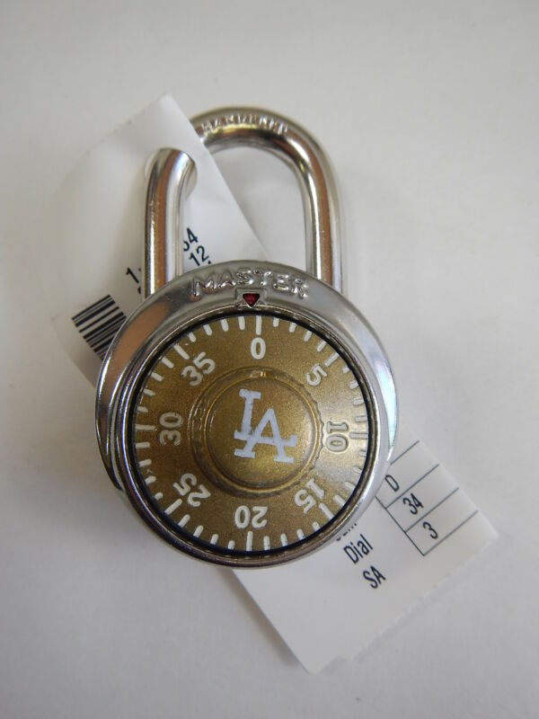 Master Lock Combination Padlock 1525 School Locker Gym LA DODGERS LOGO RARE!