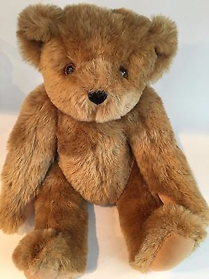 "Vermont Teddy Bear Co. Honey Color Jointed Teddy Bear 16"" Plush Authentic"