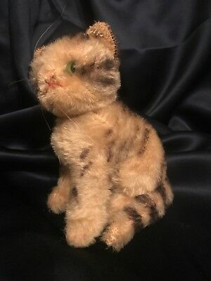 Antique 30's Steiff Susi? Mohair & Glass Eyes Sitting Cat w Swivel Head  5.5