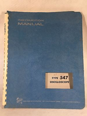 Tektronix Type 547 Oscilloscope Instruction Service Manual Pn 070-398