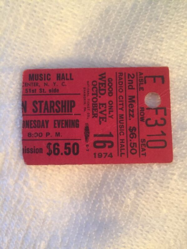 SIGNED 1974 JEFFERSON STARSHIP w/GRACE SLICK TICKET RADIO CITY MUSIC HALL NY SEE