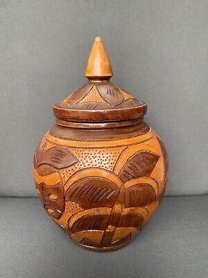 Vintage Wooden Floral Carved Wooden Pot With Lid
