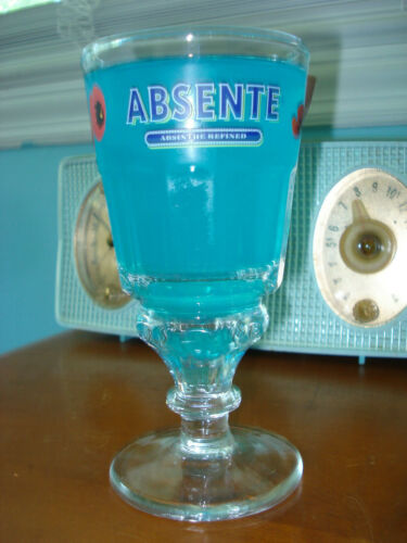 Impressive vtg 8oz/400ml ABSENTE Absinthe Red Poppies La Rochere from France exc