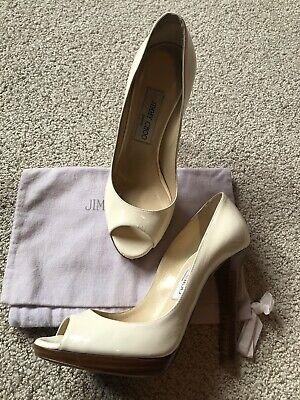 EUC Authentic JIMMY CHOO White Patent Leather Wood heels SZ 37.5 $700