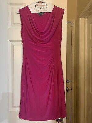 Lauren Ralph Lauren Pink Magenta Faux Wrap-Around Dress NWT Size 2 $125.00