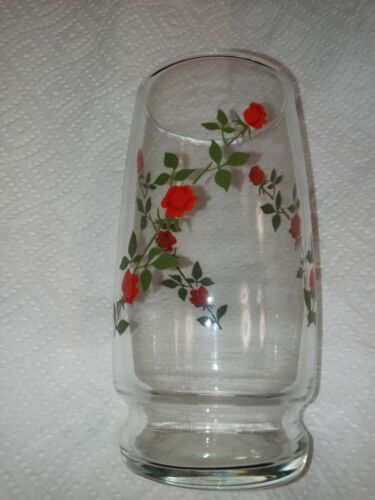 """Set of 4 Vintage Vining Red Roses Tumblers Drinking Glass 5 1/8"""""""