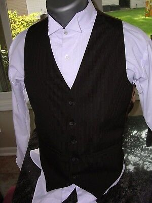 #602 MENS VINTAGE PINSTRIPED STEAMPUNK GANGSTER STYLE VEST WAISTCOAT SZ SMALL - Gangster Vest
