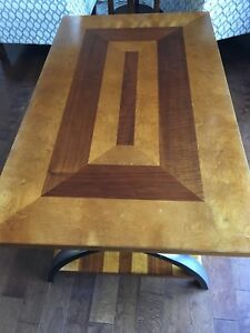 Wood with metal accents coffee table