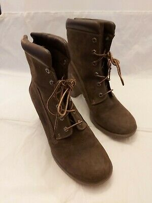 WOMEN TIMBERLAND GLANCY 6 INCH BROWN NUBUCK HEELS ANKLE BOOTS UK SIZE 7 RRP £120