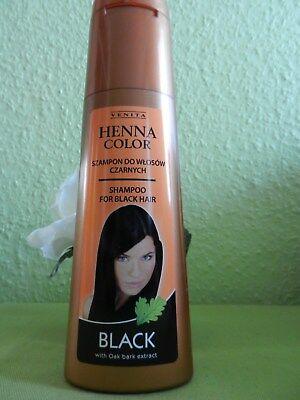 (2,0€/100ml)VENITA Henna Shampoo BLACK für schwarzes und sehr dunkles Haar250ml (Schwarze Haare, Shampoo)
