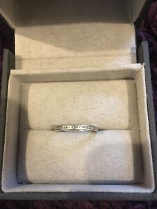 18ct White Gold Thin Wedding Band Set With Diamonds