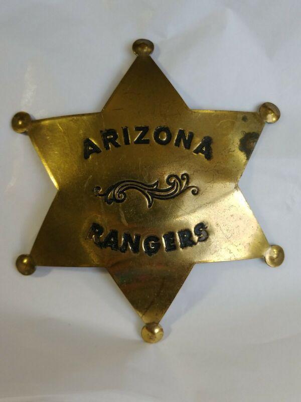 Arizona Rangers 6-Point Brass Star Badge RARE Vintage Fox Stamp Replica