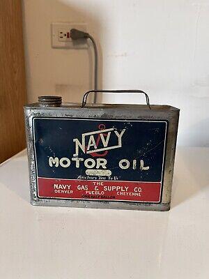 RARE Vintage Original Navy Motor Oil Half Gallon Can