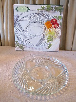 "NEW 12"" Indiana Glass Clear Glass Relish Tray Platter Enchantment Indiana Glass"