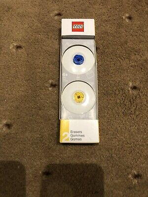 Lego Erasers (Blue & Yellow) Official Stationery Set, Multi-Colour * BRAND NEW * (Architecture Eraser)