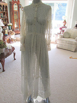 Vintage 40's Net Lace Dress Gown Party Wedding Sheer