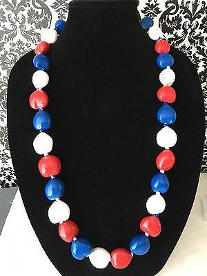 Hawaii Wedding Kukui Nut Lei RED WHITE BLUE Patriotic Necklace Graduation Luau