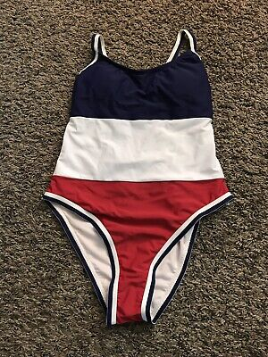NWT Xhilaration Red, White And Blue Hi-Cut  One Piece Swimsuit Size S