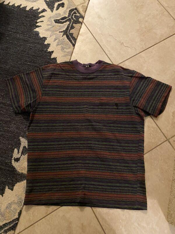 Stussy Aztec Striped Pocket Tshirt 90s Size L Skate