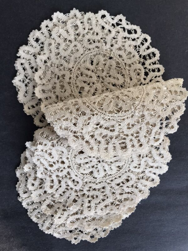 12 Vintage NEW French Lace Hand Made Coasters Doilies~Still Attached by a Thread