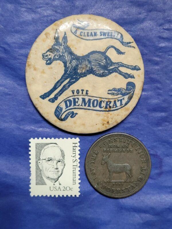 Genuine 1888 Democratic Donkey pocket mirror campaign token 1830s Andrew Jackson