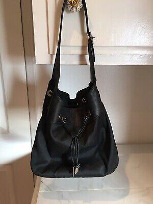 Vintage Gucci Jackie O Black Canvas & Leather Drawstring Handbag