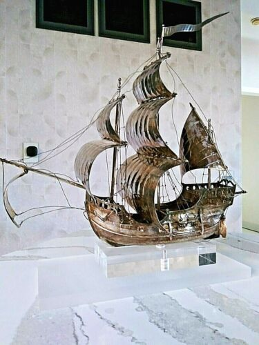 X LARGE  STERLING SILVER CONTINENTAL GERMAN MODEL OF A GALLEON NEF SHIP