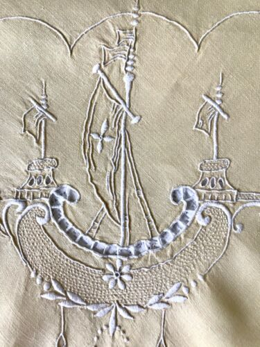 Antique Linen Tablecloth Hand Embroidery Nautical Galleon Ships Maritime