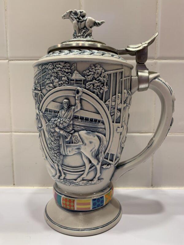 1992 Avon Winners Circle Lidded Beer Stein Horse Racing Thoroughbred #20605