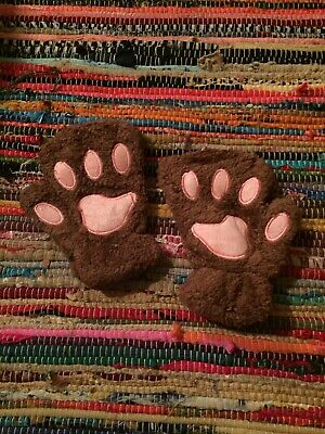 Fluffy Kitty Cat Faux Fur Furry Cosplay Fox Paws Costume Kawaii Brown Paw Gloves